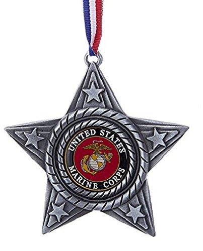 Kurt Adler US Marine Corps Military Logo Star Metal Christmas Tree Ornament MC9161 USMC New ()