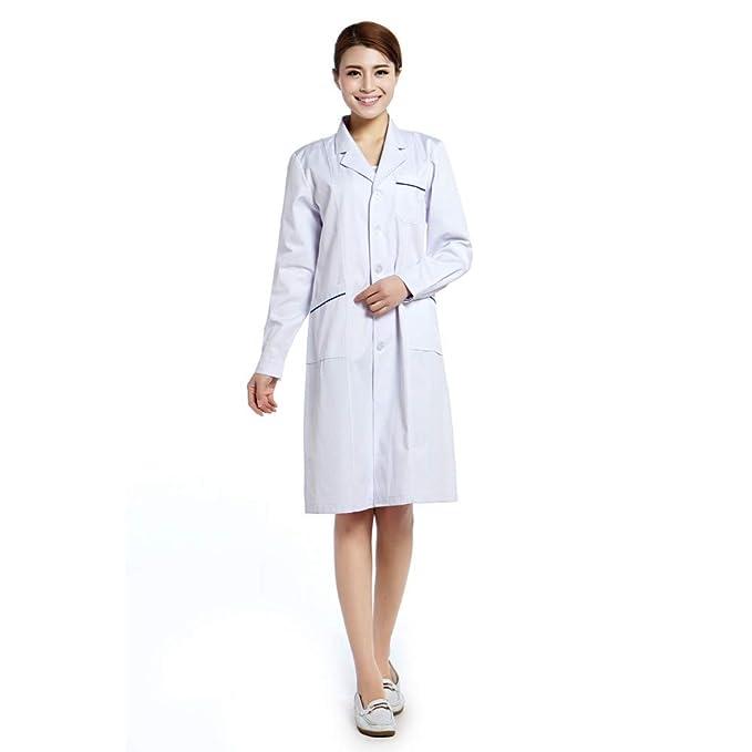ESENHUANG Bata De Laboratorio De Algodón Mujer Uniforme Médico Enfermera Enfermeras De Trabajo Uniformes Ropa Dental: Amazon.es: Ropa y accesorios