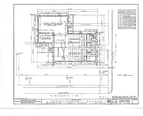 Historic Pictoric Blueprint Diagram HABS Ill,86-Winch,1- (Sheet 1 of 6) - Presbyterian Church, West Cherry & North Mechanic Streets, Winchester, Scott County, IL 14in x 11in