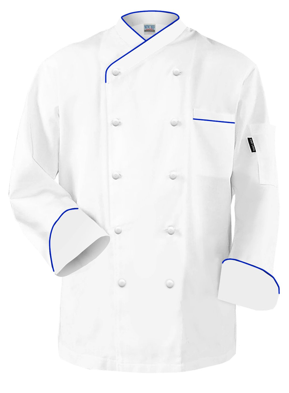 Newchef Fashion Frenchy Chef Coat White with Royal Blue Trim 2XL White by Newchef Fashion
