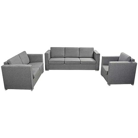 Tuduo 3 pcs Juego de sofás de Tela Color Gris Claro Elegante ...