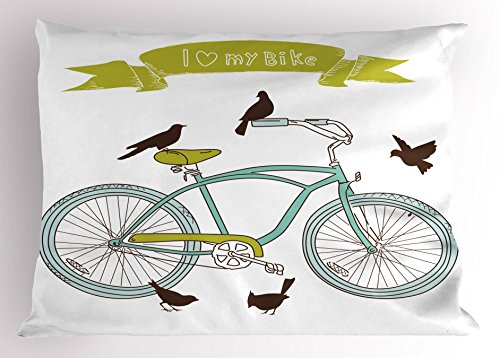 Lunarable Bicycle Pillow Sham, I Love My Bike Concept with Birds on The Seat Cruisers Basic Vehicle Simplistic Art, Decorative Standard Queen Size Printed Pillowcase, 30