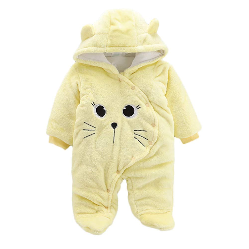 WUAI Newborn Baby Fleece Footed Jumpsuit Pram Winter Thicken Cartoon Sheep Snowsuit Hoodie Romper(Yellow,3-6Months) by WUAI-Baby