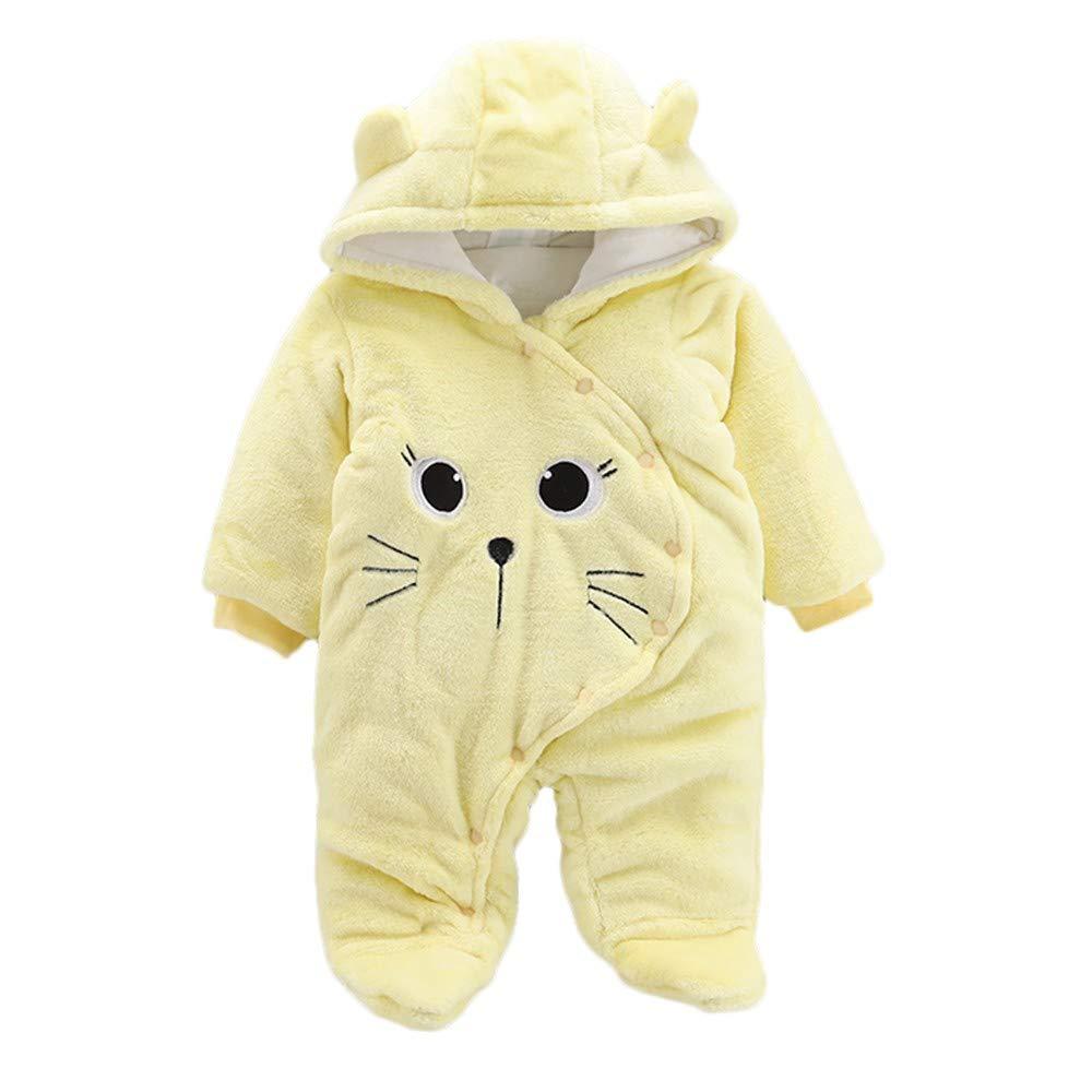 MODOQO Newborn Babys Hoodies Romper Cartoon Cat Warm Winter Jumpsuit Clothes