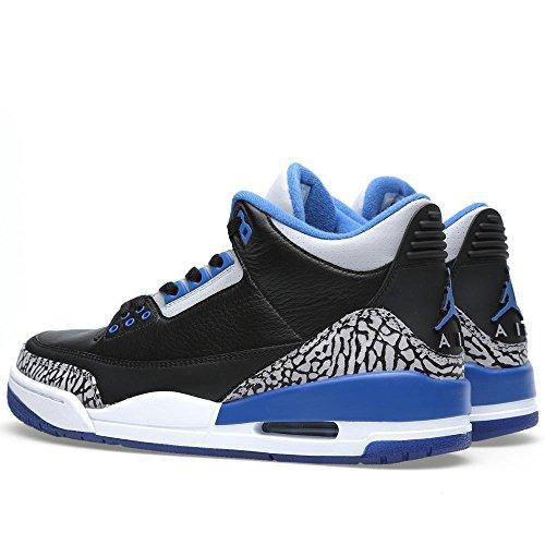 Nike Herren Air Jordan 3 Retro Leder Basketballschuhe 007-schwarz / Sport Blau-Wolf Grau