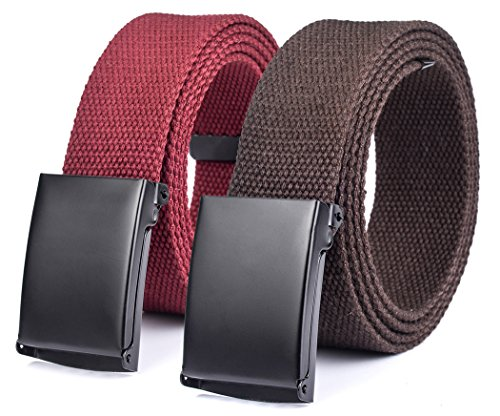 Canvas web Hiker Belt Military Tactical Waist Belt by ViViKiNG (2pcs. Maroon + Brown)