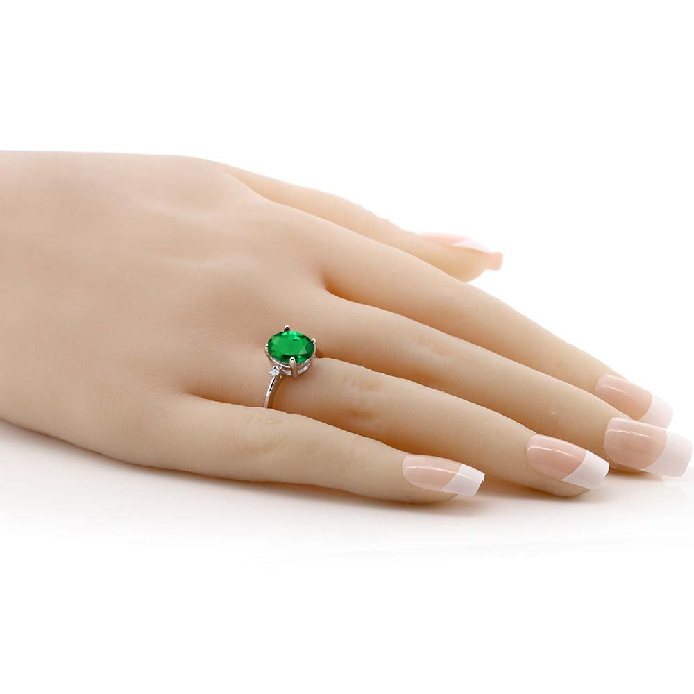 Gem Stone King 2.19 Ct Oval Green Nano Emerald White Topaz 925 Sterling Silver 3-Stone Women s Ring Available 5,6,7,8,9