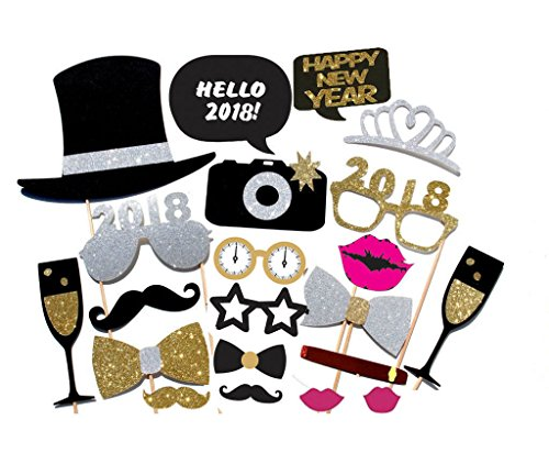 21PCS 2018 New Year's Eve Party Card Masks Photo Booth Props Mustache