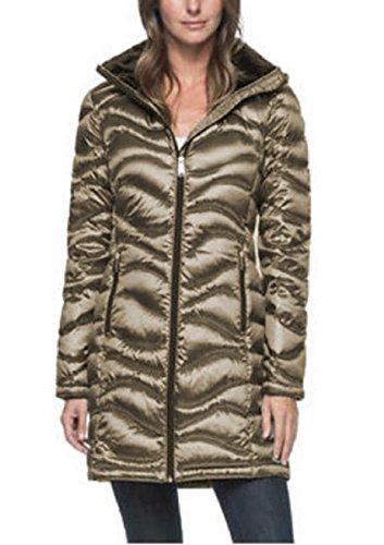 Andrew Marc Women's Long Length Down Puffer Jacket with Hood (Large, Shine Granite)
