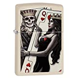 Zippo Skull King Queen Beauty Pocket Lighter, Cream Matte