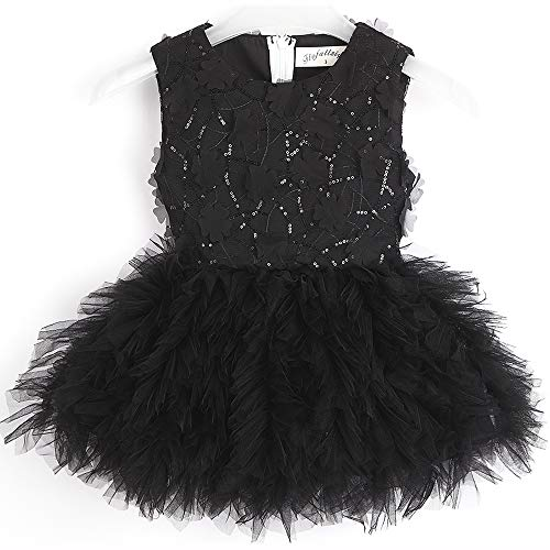 Flofallzique Flower Tutu Sequined Girls Dress Easter Wedding Party Baby Girls Clothes(6, -