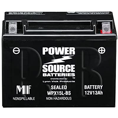 YTX15L-BS, YTX15L, 15L-BS, CYTX15L-BS, FAYTX15L-BS, CTX15L-BS, 12V13L, M6215L, XTAX15L-BS Replacement Battery 300cca High Performance WPX15L-BS Sealed AGM for Moto Guzzi, Ski Doo, BRP, Can-Am DS650, Outlander 330 Motorcycle, ATV, Snowmobile