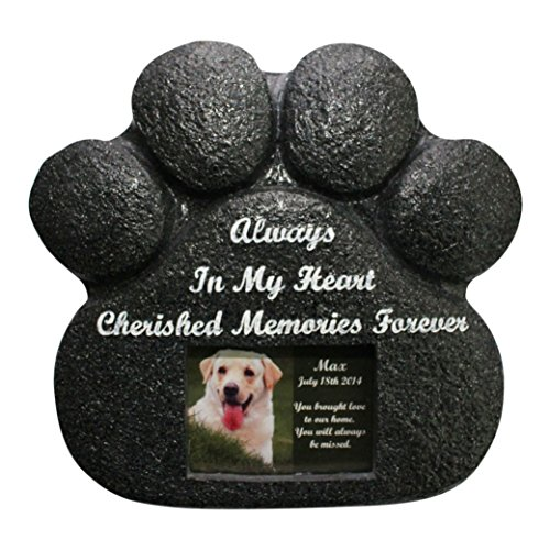 Paw Print Pet Memorial Stone Garden Rock Pet Urn for Ashes Dog Tag Photo of Your Faithful Companion (Personalized Urn For Dog Ashes compare prices)