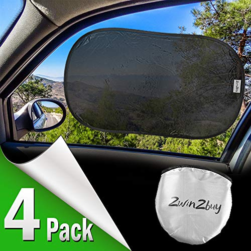 2win2buy Car Window Shade Cling Sun Shade for Side Rear Window for Baby Kids,80 GSM with 15s Film for Full UV Rays Sun Glare Protection-2 Transparent /& 2 Semi-Transparent Sunshades 21x 14 4 Pack