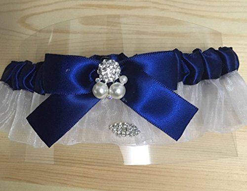 (Satin and Organza Wedding/Bridal Garter with Pearl Floral/Crystal Bowknot for Valentine/Birthdays (Royal Blue))