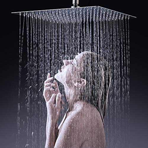 XFHome 12'' Rain Shower Head Solid Ultra Thin Brushed Nickel 304 Stainless Steel Waterfall Square Fixed Showerhead, High Pressure Shower Bath Head