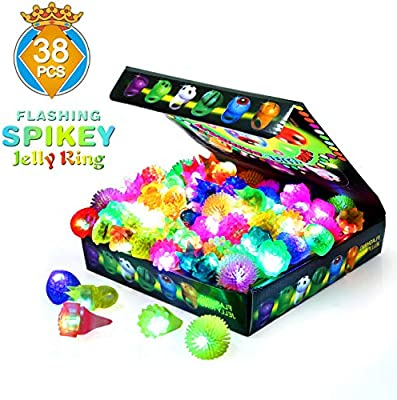 SCIONE Birthday Party Favor for Kids LED Light Up Rings 38 Pack Prizes for Kids Classroom Glow in The Dark Party Supplies Bulk Novelty Glow Jelly ...