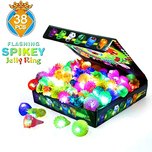 SCIONE Birthday Party Favor for Kids LED Light Up Rings 38 Pack Prizes for Kids Classroom Glow in The Dark Party Supplies Bulk Novelty Glow Jelly Blinking Toy Rings -