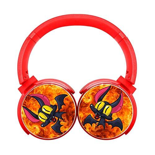 DNpni Bat Halloween Wireless Headset Stereo Subwoofer On-Ear Bluetooth Headphone HiFi with Mic Red -