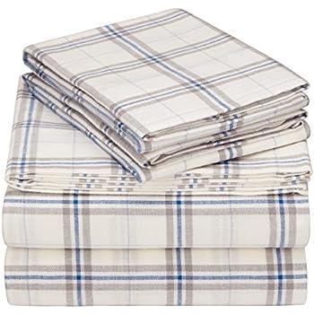 pinzon 160 gram plaid velvet flannel sheet set queen creamblue stripe plaid
