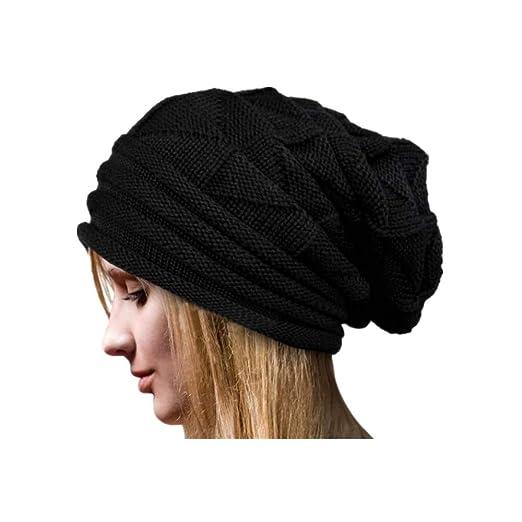1166747b42f58 Muranba Women Winter Soft Stretch Wool Knit Beanie Warm Hat Caps (Black)