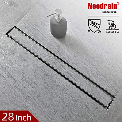 Neodrain 28-Inch Linear Shower Drain with Tile insert Grate,Professional Brushed 304 Stainless Steel Rectangle Shower Floor Drain Manufacturer,Floor Shower Drain With Leveling Feet, Hair Strainer