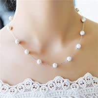 Fashion Charm Jewelry Pendant Chain Pearl Choker Chunky Statement Bib Necklace