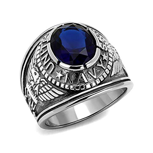 Eternal Sparkles Men's Stainless Steel United States Navy Blue Oval Glass Stone ()
