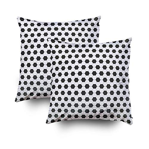 ROOLAYS Decorative Throw Square Pillow Case Cover 18X18Inch,Cotton Cushion Covers Halloween Pattern Soccer Football Both Sides Printing Invisible Zipper Home Sofa Decor Sets 2 PCS Pillowcase -