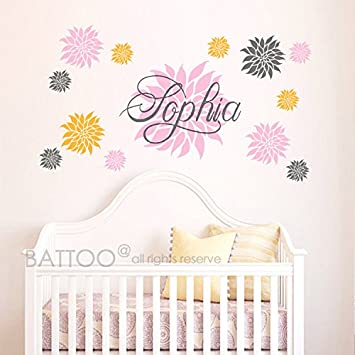 BATTOO Name Wall Decal - Dahlia Flowers - Baby Girl Nursery Decal - Bedroom Wall Decal  sc 1 st  Amazon.com & Amazon.com: BATTOO Name Wall Decal - Dahlia Flowers - Baby Girl ...