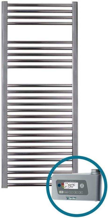 farho Secador de Toallas Electrico Nova Cromado 800W · Radiador Toallero Electrico Bajo Consumo · Toalleros de Baño/Calentador Toallas Digital Programable (Medidas 1200 x 500mm)