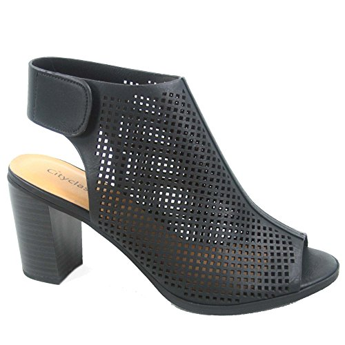 Roadway s Heel Sandals Women's Perforated Chunky Sexy Toe Shoes Black City Peep Classified 5qEzRxBx
