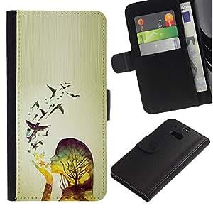 Billetera de Cuero Caso Titular de la tarjeta Carcasa Funda para HTC One M8 / Spring Birds Woman Girl Relief / STRONG
