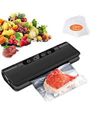 Vacuum Sealer, Fityou Automatic Vacuum Air Sealing Machine with Bags & Smart Kit for Food Preservation | Compact Design | Dry & Moist Food Modes | Led Indicator Lights