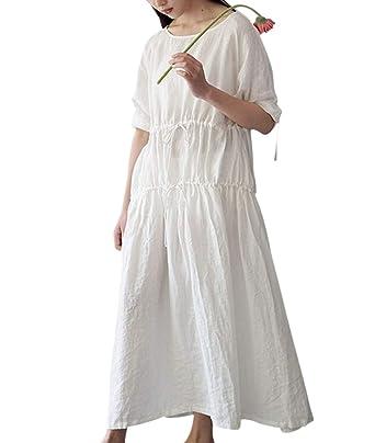 YESNO TH7 Women Maxi Casual Loose Dress 100% Linen Tea Dress Drawstring Tunic Dress High