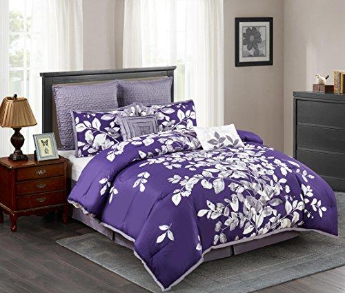 Wonder-Home 8-pc. Elegant Purple Comforter Set, Oversized Natural Leaf Printed Microfiber Bedding Set, Polyester Overfilled, Medium Weight, King, 106
