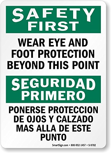 "Wear Eye and Foot Protection Beyond This Point, HDPE Plastic Sign, 10"" ..."