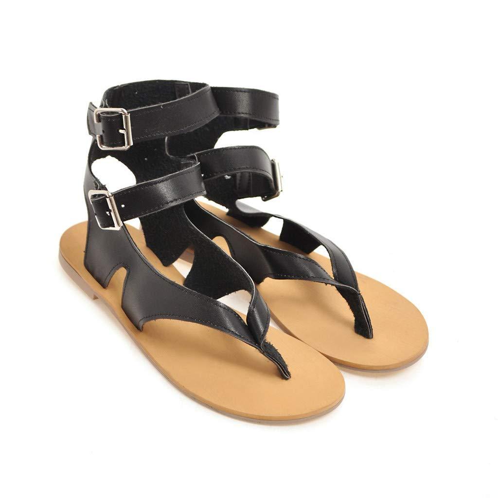 Ladies Cutout Ankle Strap Buckle Flat Sandals Summer Fashion Party Shoes Women T-Strap Flip Flop Sandal