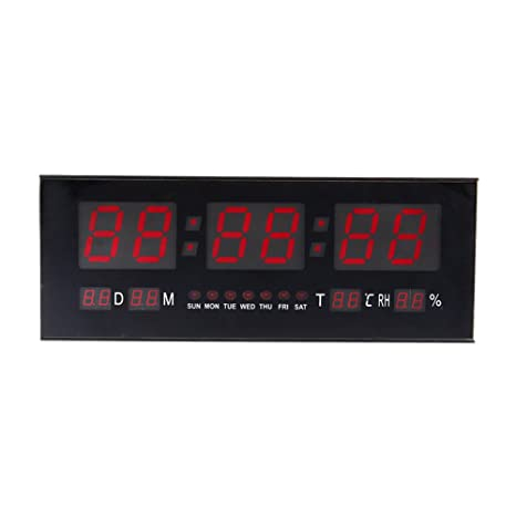 Estink Digital LED Alarm Calendar Clock,Large Jumbo Display Snooze Desk Wall Clock with Thermometer Temperature Display,Red