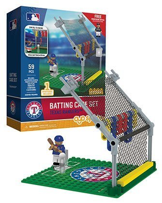 (Oyo Sportstoys MLB Texas Rangers Batting Cage Set with Minifigure, Small, White)
