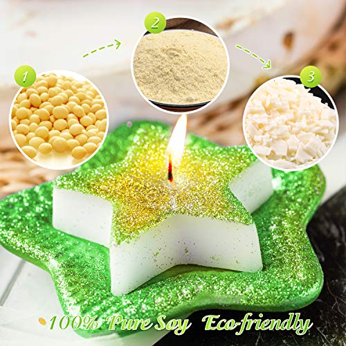 HOMEWINS Smokeless Novelty Candles Made of 100% Soy Wax Star Shape Candles, Eco-Friendly Unscented Candle for Home Decoration and Wedding Gift, Party Christmas Decor (Green) ()
