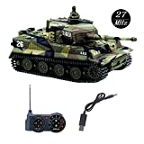 YouCute mini RC Tank with USB charger cable Remote Control Panzer tank 1:72 German Tiger I with Sound, Rotating Turret and Recoil Action When Cannon Artillery Shoots (Green)