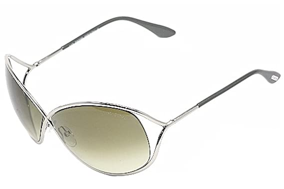 3c04b240e61 Tom Ford Women s 0130 Miranda Shiny Rhodium Frame Green Gradient Lens Metal  Sunglasses