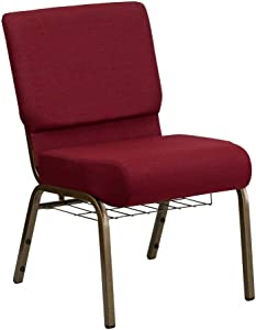 Flash Furniture HERCULES Series 21''W Church Chair in Burgundy Fabric with Cup Book Rack - Gold Vein Frame