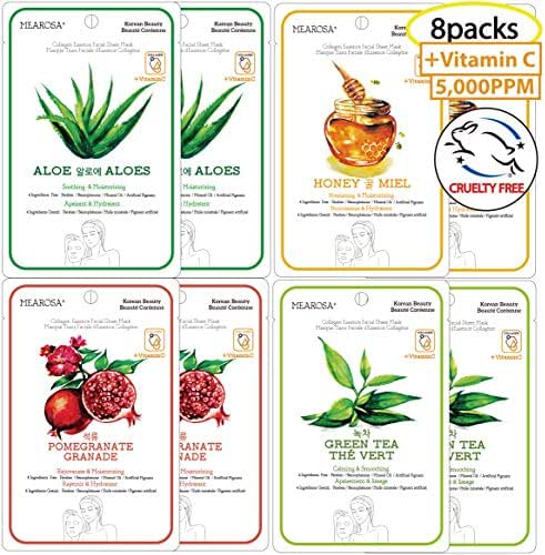 Vitamin C Serum Sheet Mask Natural Collagen Essence Facial Mask MEAROSA Anti-aging Repairing Sun Damaged Skin Korean Skin Care Premium Quality Daily Routine(8 Sheets Variety pack)