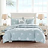 Coastal Beach House Starfish Seashell 100% Cotton Queen Quilt +2 Shams + Decorative Pillow and Home Style Sleep Mask Ocean Theme Quilts Sets (Queen)