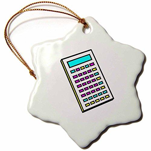 3Drose Orn 102370 1 Cmyk Calculator Math Geek Retro Graphic Cartoon Snowflake Ornament  3 Inch  Porcelain