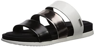 Calvin Klein Women's Dalana Slide Sandal, Black/Pewter/White, 10 Medium US