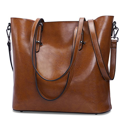 ZONE Shoulder Women S Top Bag Body Handbag Cross Dark Messenger Tote Brown Bag Leather Handle Purse 8dqa5xaw