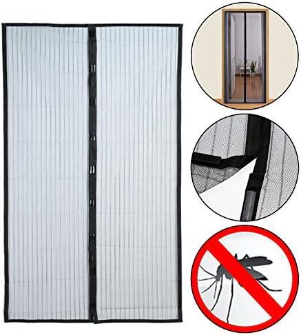 Mosquitera para puerta 210 x 100 cm con imán, cortina mosquitera de 2 piezas para puertas de terraza, balcones, habitaciones de interior y uso exterior: Amazon.es: Bricolaje y herramientas